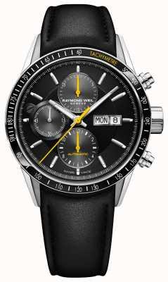 Raymond Weil Mens Freelancer автоматический хронограф черный кожаный ремешок 7731-SC1-20121