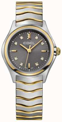 EBEL Женская волна с бриллиантом установила два тональных браслета с серым циферблатом 1216283