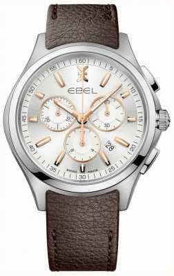 EBEL Мужская волна хронограф дата дисплей коричневый кожаный ремешок 1216341
