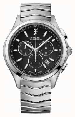 EBEL Мужской хронограф черный циферблат из нержавеющей стали серебряный чехол 1216342