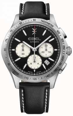 EBEL Мужская автоматическая волновая хронограф черный циферблат черная кожа 1216404