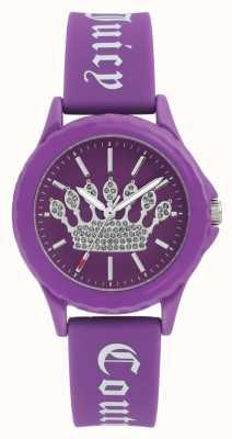 Juicy Couture Женщин фиолетовый силиконовый ремешок часы фиолетовый набор короны JC-1001PRPR