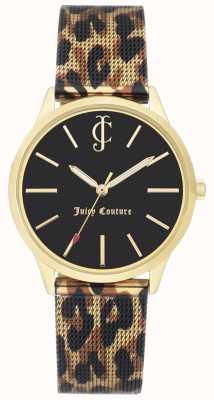 Juicy Couture Женская леопардная кожаная ремешка для черных циферблатов JC-1014GPLE