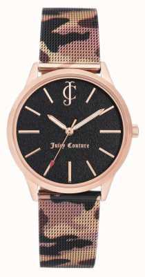 Juicy Couture Женская коричневая камуфляжная печать кожаный ремешок черный циферблат JC-1014RGCA
