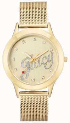 Juicy Couture Женские золотые тона сетки браслет сочные часы сценарий JC-1032CHGB