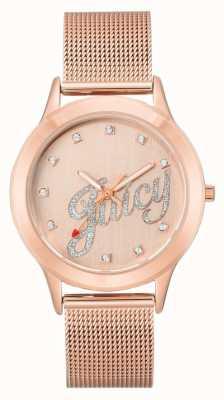 Juicy Couture Женские розовые золотые тона сетки браслет сочные часы сценарий JC-1032RGRG