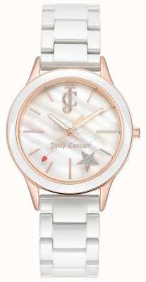 Juicy Couture Женский белый браслет с белым циферблатом из розового золота JC-1048WTRG