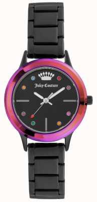 Juicy Couture Женский маленький черный браслет черный циферблат с цветной рамкой JC-1051MTBK