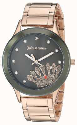 Juicy Couture (без коробки) женская розовое золото нержавеющая сталь | черный циферблат JC-1052OLRG