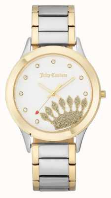 Juicy Couture Женский циферблат с золотой короной и двухцветный браслет JC-1053WTTT