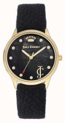 Juicy Couture Черный черный циферблат | черный бархатный ремень | золотой тональный чехол JC-1060BKBK