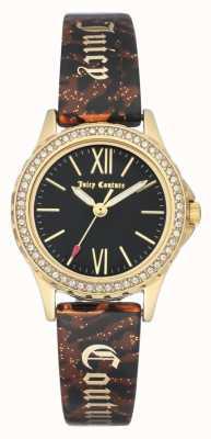 Juicy Couture Женский золотой тональный чехол | коричневый браслет | черный корпус JC-1068BKBN