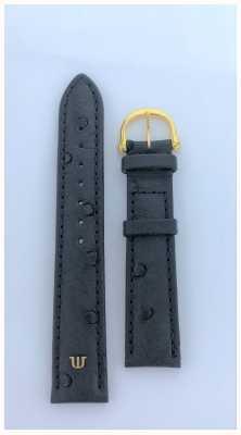 Maurice Lacroix   Черный ремешок из кожи страуса 18 мм, желтое золото   без пряжки ML650-000003