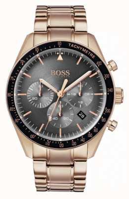 Hugo Boss Мужские трофеи смотреть серый хронограф циферблат розового золота тон 1513632