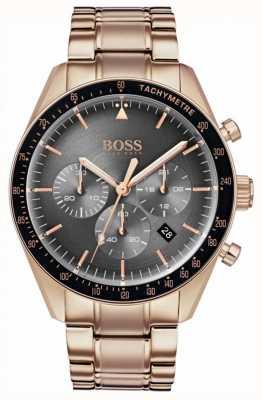 Boss Мужские трофейные часы, серый циферблат с хронографом, розовое золото 1513632