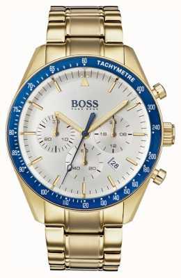 Boss Мужские трофейные часы с белым циферблатом хронографа золотого тона 1513631