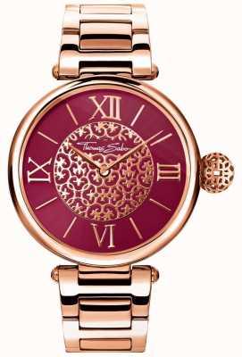 Thomas Sabo Женская карма розового золота тона браслет красный sunray циферблат WA0306-265-212