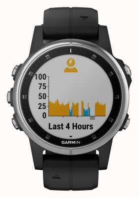 Garmin Fenix 5s плюс серебряный окантовка черный резиновый ремешок 010-01987-21