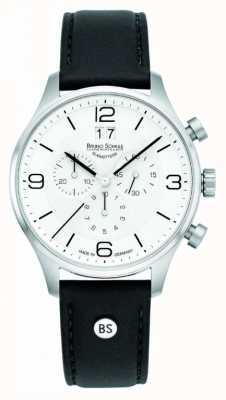 Bruno Sohnle Mens padua 42mm хронограф белый циферблат черный кожаный ремешок 17-13196-921