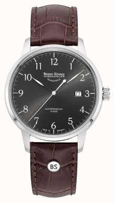 Bruno Sohnle Мужская гамга большой серый кварцевый коричневый кожаный ремешок 17-13201-821