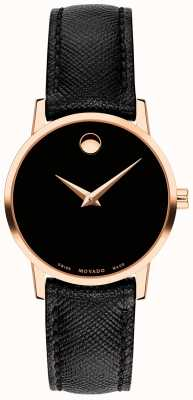 Movado Женский черный кожаный ремешок из розового золота 0607206