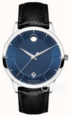 Movado Мужской 1881 автоматический синий циферблат черный кожаный ремешок 0607020