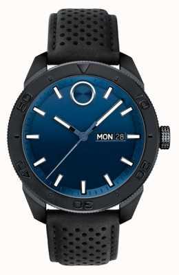 Movado Мужские полужирный синий циферблат с черным перфорированным кожаным ремешком 3600495