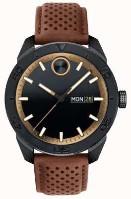 Movado Мужской полужирный черный коричневый перфорированный кожаный ремешок 3600496