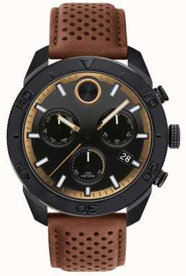 Movado Мужской смелый хронограф перфорированный коричневый кожаный ремешок 3600515