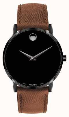 Movado Мужской коричневый кожаный ремешок черный циферблат 0607198