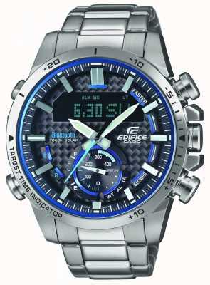 Casio Edifice bluetooth lap timer нержавеющая сталь синие акценты ECB-800D-1AEF