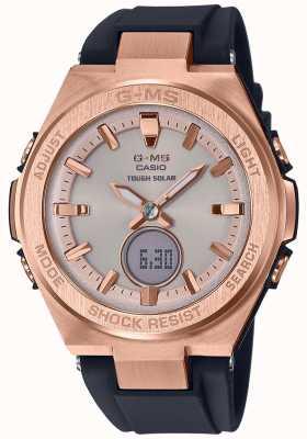 Casio G-ms baby-g розовое золото жесткий солнечный черный ремешок MSG-S200G-1AER