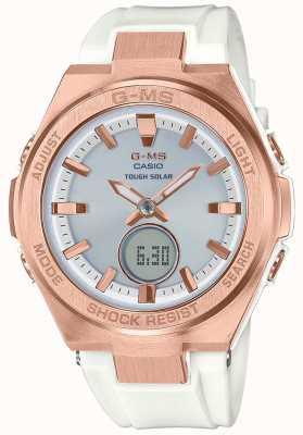 Casio G-ms baby-g розовое золото жесткий солнечный белый ремешок MSG-S200G-7AER