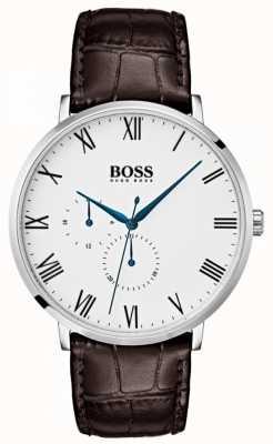 Boss Мужской Уильям классический коричневый кожаный белый циферблат 1513617