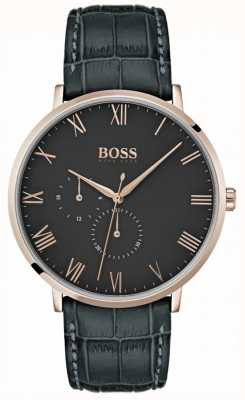 BOSS Классический темно-серый кожаный чехол и циферблат William 1513619