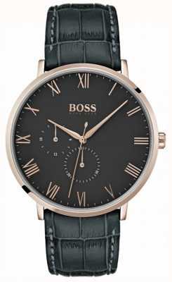 Boss Классический темно-серый кожаный чехол William с циферблатом 1513619