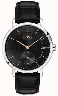 Hugo Boss Кожаный черный кожаный ремешок черного цвета 1513638