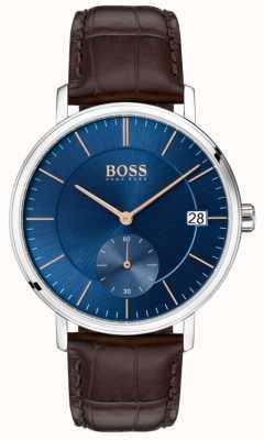 Hugo Boss Мужской кожаный коричневый кожаный ремешок синий циферблат 1513639