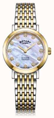 Rotary Женские двухцветные часы-браслет Windsor с бриллиантами и датой LB05301/41/D