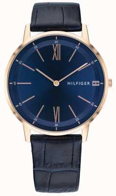 Tommy Hilfiger Мужской медь часы синий кожаный ремешок розовое золото тон случае 1791515