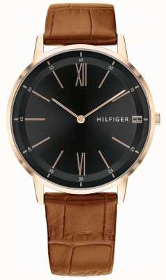 Tommy Hilfiger Мужская медь часы коричневый кожа черный циферблат ремень сталь случае 1791516