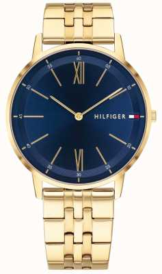 Tommy Hilfiger Мужская мода часы золотого тона браслет синий циферблат 1791513
