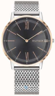 Tommy Hilfiger Мужская медь часы из нержавеющей стали сетка браслет черный циферблат 1791512