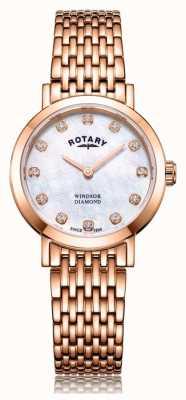 Rotary Женские часы-браслет с розовым золотом и бриллиантами Windsor LB05304/41/D