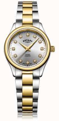 Rotary Женские оксфордские дамы бриллианты двухцветный браслет смотреть LB05093/44/D