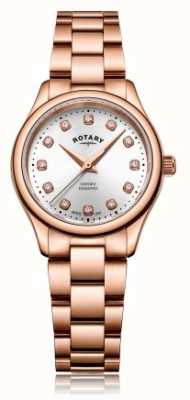 Rotary | женская | оксфорд | алмазный набор | браслет из розового золота | LB05096/02/D