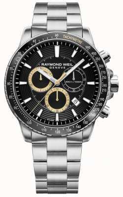 Raymond Weil Мужские часы tango 300, браслет из нержавеющей стали, черный хронограф 8570-ST1-20701
