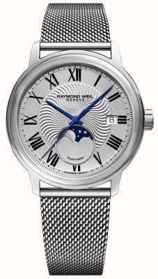 Raymond Weil Mens maestro moonphase часы из нержавеющей стали сетчатый ремешок 2239M-ST-00659