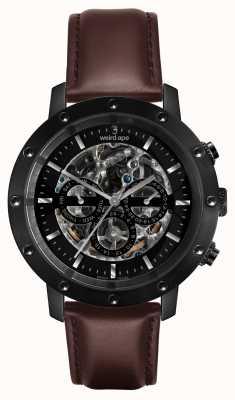 Weird Ape Icarus 3 набирает весь черный / коричневый кожаный ремешок WA02-005702