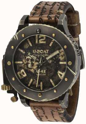 U-Boat U-42 unicum vintage смотреть автоматический коричневый кожаный ремешок 8188